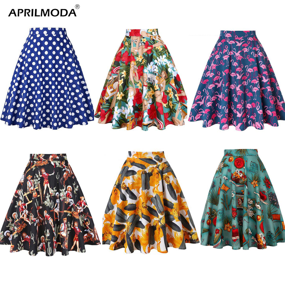 Women Midi Skirt Runway Vintage Rockabilly Womens Pinup 50s 60s Cotton Pleated Skirts High Waist Pinup Mini Black Daily Skirts