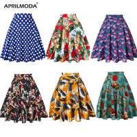 Women Midi Skirt Runway Vintage Rockabilly Womens Pinup 50s 60s Cotton Pleated Skirts High Waist Pinup Mini Black Daily Skirts