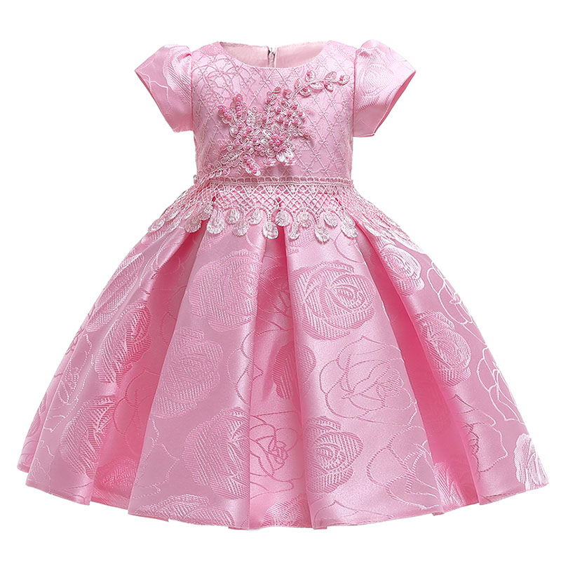 Flower Girl Dresses Children Clothing Short Sleeve Rose Elegant Clothes First Communion Princess Baby Tutu Costume Ladies Dress