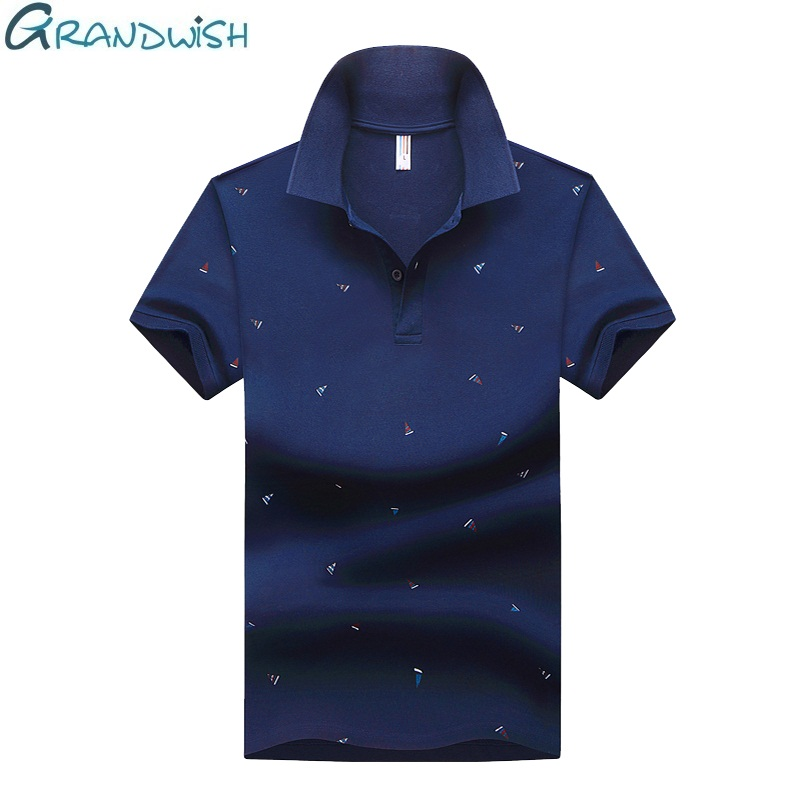 Grandwish Summer   Polo   Shirt Men Cotton Blends Breathable   Polo   Mens Print Anti-pilling Short Sleeve   Polo   Shirt for Male,NA074