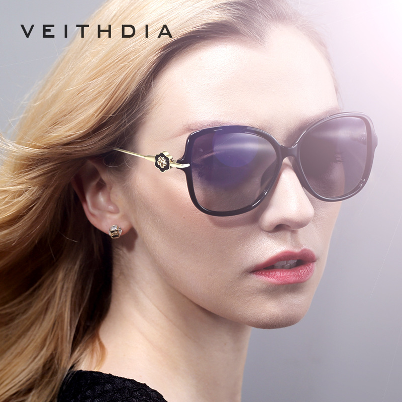 VEITHDIA TR90 Women's Sun glasses Polarized Mirror Lens Luxury Ladies Flower Designer Sunglasses Eyewear For Women oculos 8011