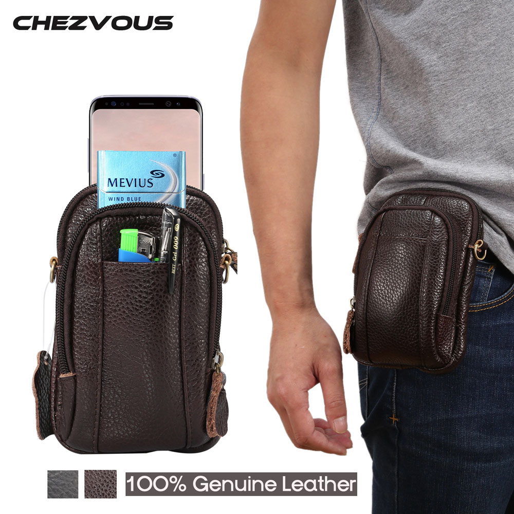 CHEZVOUS 100% Genuine Leather Men's Belt Pouch for Iphone
