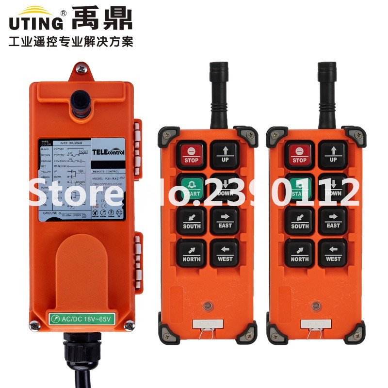 industrial wireless redio remote control F21-E1B for hoist crane 2 transmitter and 1 receiver telecrane industrial wireless radio single speed 8 buttons f21 e1b remote control 1 transmitter 1 receiver for crane