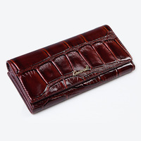 2017 New Ladies High Quality Genuine Leather Crocodile Long Wallet Women Luxury Brand Dollar Price Carteira