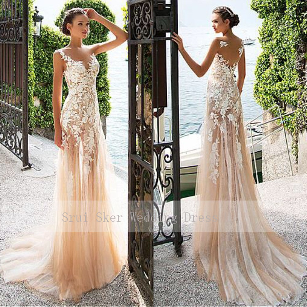 Marvelous Illusion Neckline Sheath Lace Wedding Dresses Champagne Tulle Gowns Appliques Gowns Bridal Dresses See Through