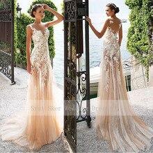 놀라운 환상 Neckline 칼집 레이스 웨딩 드레스 샴페인 Tulle 가운 Appliques 가운 신부 드레스 다시보기