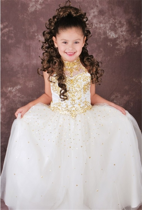 2015 Dazzling High Collar Sequined Flower Girl Dresses Embroidery ...