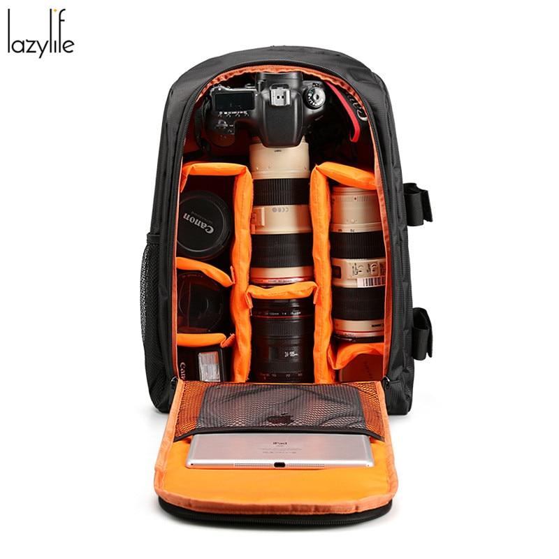 ФОТО LAZYLIFE Camera Dslr Bag Laptop Backpack Waterproof Nylon Backpack Women Men Travel Bag Fashion Camera Backpack
