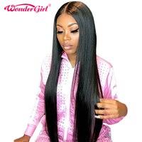 Чудо девочка Glueless Синтетические волосы на кружеве человеческих волос парики для женский, черный предварительно сорвал бразильский Прямо К