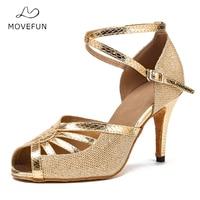 Ladies Latin Dance Shoes Glitter Girls Dancing Shoes Women 8.5cm High Heel Black Gold Soft Sole Salsa Ballroom Shoes