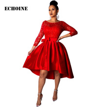 Echoine Elegant Lace  Long Sleeve Evening Party Dress Irregular Pleated Red Hollow Wedding Dresses Vintage Vestidos Belt