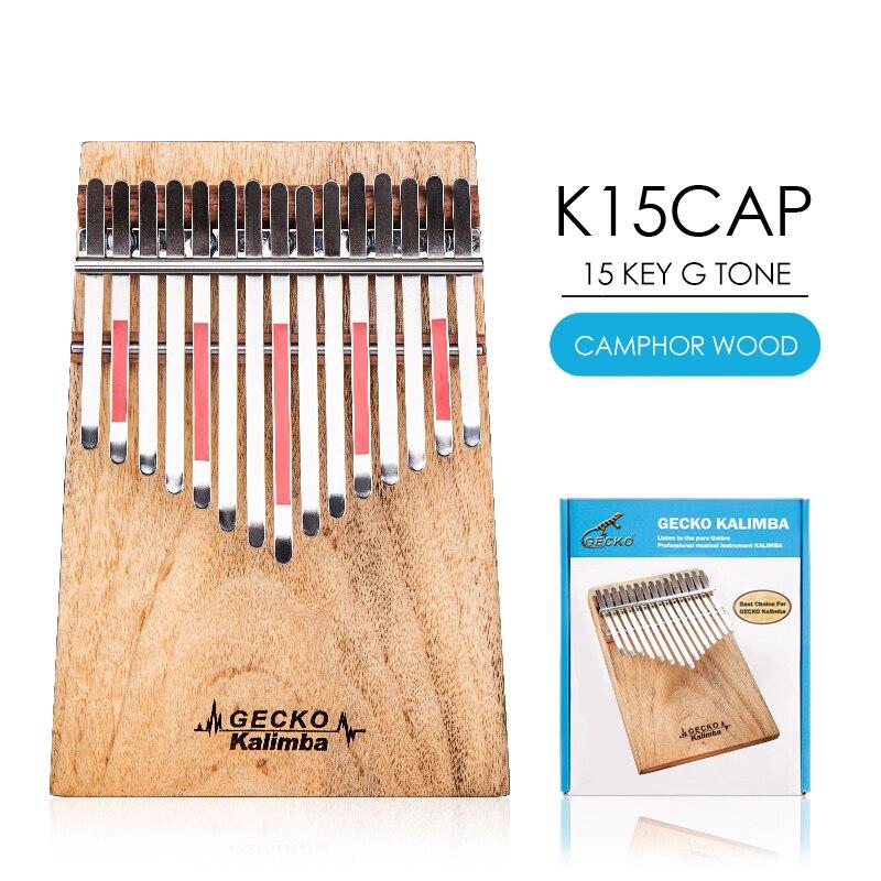 GECKO Kalimba 15 Touche Plein placage bois De Camphre, avec Instruction et Tune Marteau, portable Piano à pouces Mbira Sanza K15CAP