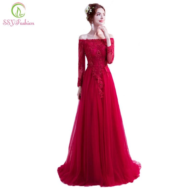 Ssyfashion Long Sleeve Wedding Dresses The Bride Elegant: SSYFashion New Elegant Wine Red Mohter Of The Bride