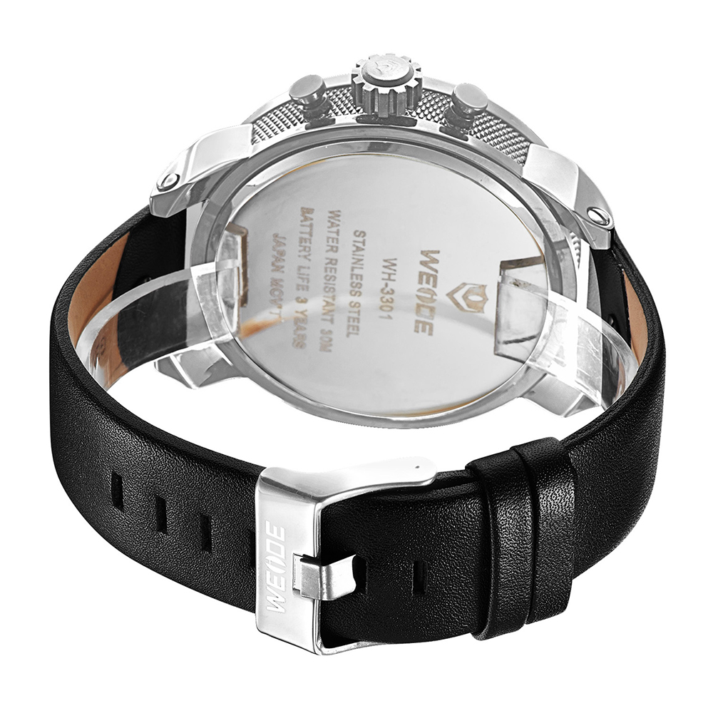 WEIDE mehanical hand wind quartz sports wrist watch casual genuine watch leather sport men luxury relogio automatico masculino in Quartz Watches from Watches