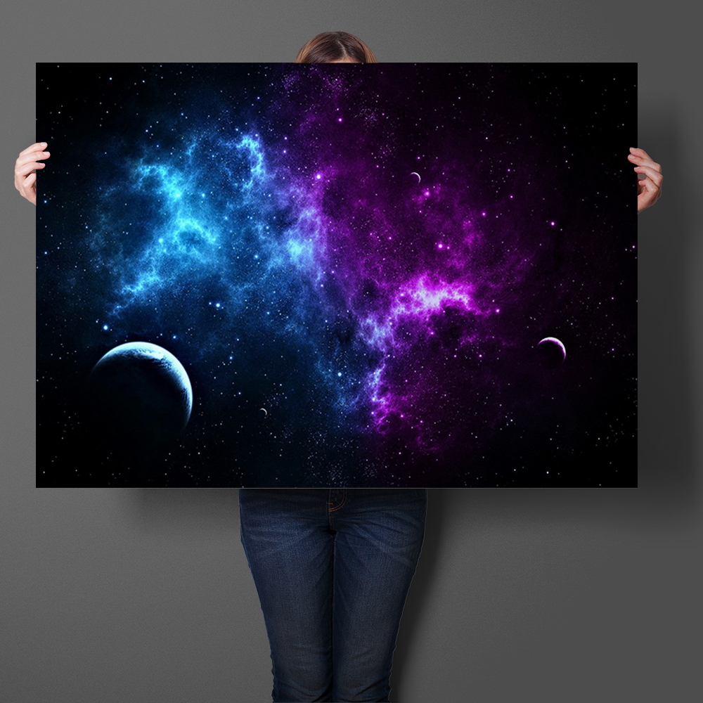 Space Art Prints Silk Fabric Poster And Print Trippy Purple