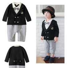Free Shipping 4pcs/lot Baby Boy's Formal Long Sleeve Romper