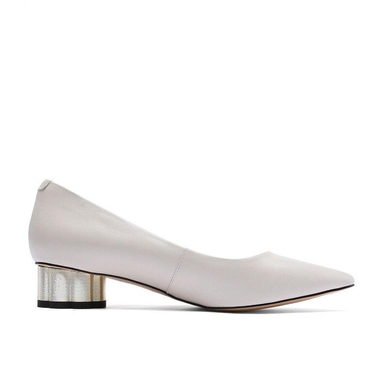 Spéciale Asumer Femmes Chaussures 2019 Cuir Peu Pompes Nouvelles Bout Grande Pointu Robe Beige Taille En 43 Offre Profonde noir Talons Med Véritable Bureau 34 qEnrxCwq