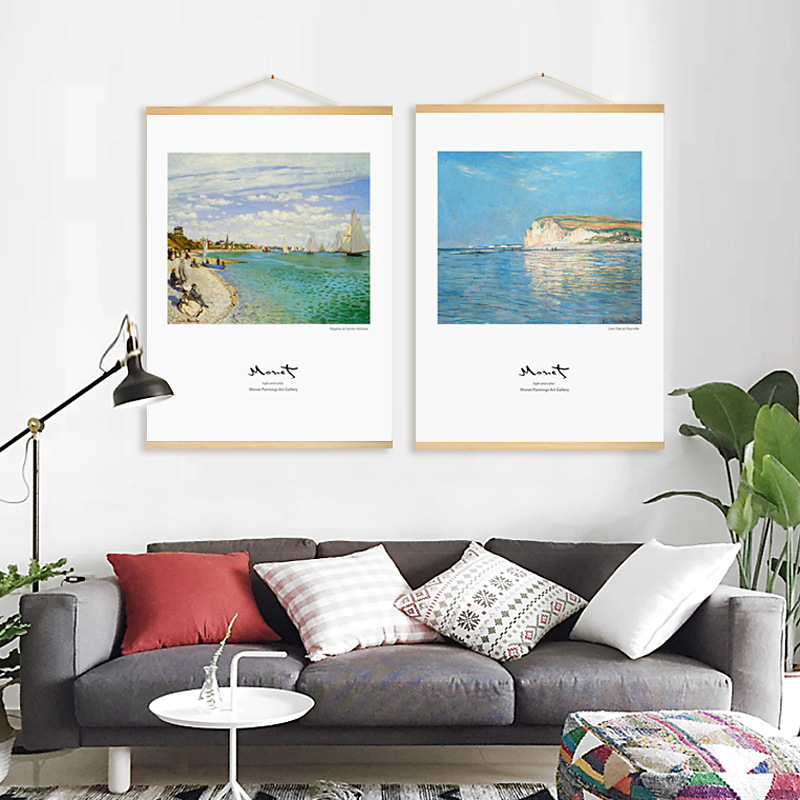 With Frame Sea Landscape Monet Oil Painting Wall Art