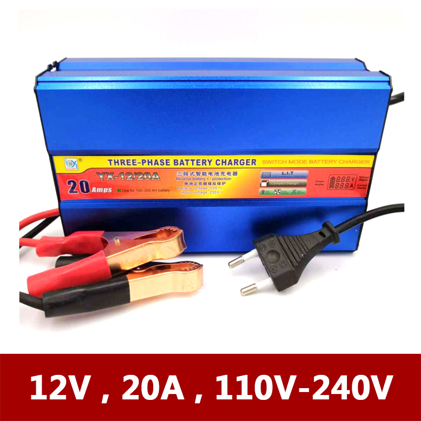 12V 20A Automatic Car Motorcycle Tricycle Boat Lead-Acid AGM GEL Battery Charger LCD Current Voltage Display 12 V Volt 20 A AMP