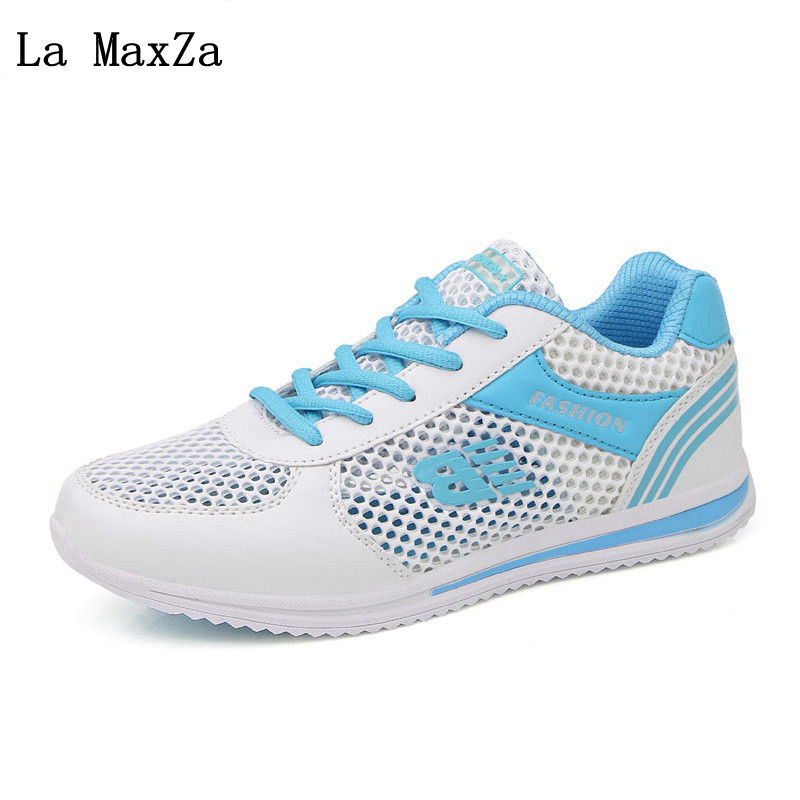 2018 Summer New Female Sneakers Breathable Mesh Casual Shoes Women Flat Platform Shoes Damping Fashion Lace-Up Vulcanize Shoes