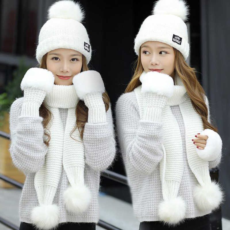 ebdbb91a7 Fashion Woman Winter Hat Scarf Gloves Sets Girls Warm Thick Hat & Glove Set  Three - piece Solid Knit Hats Scarf Set For Feamle