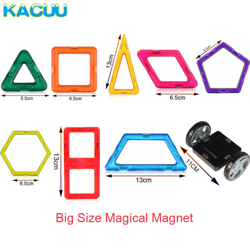 KACUU 61-135PCS Big Size Designer bloki magnetyczne zestaw magnesy budowlane zabawki magnetyczne konstruktor klocki dla dzieci