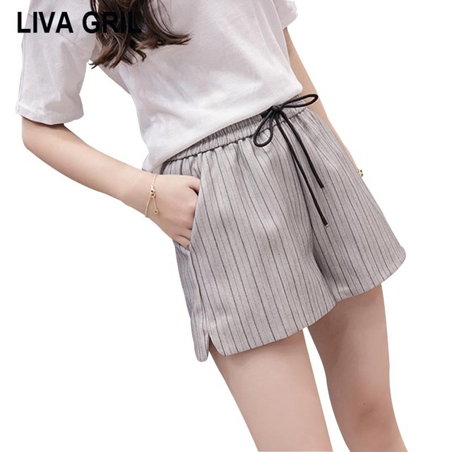 Liva Girl Short Feminino 2018 Brand High Waist Shorts Women Plus Size Casual Wide Leg Shorts Elastic Waist Hot Pants