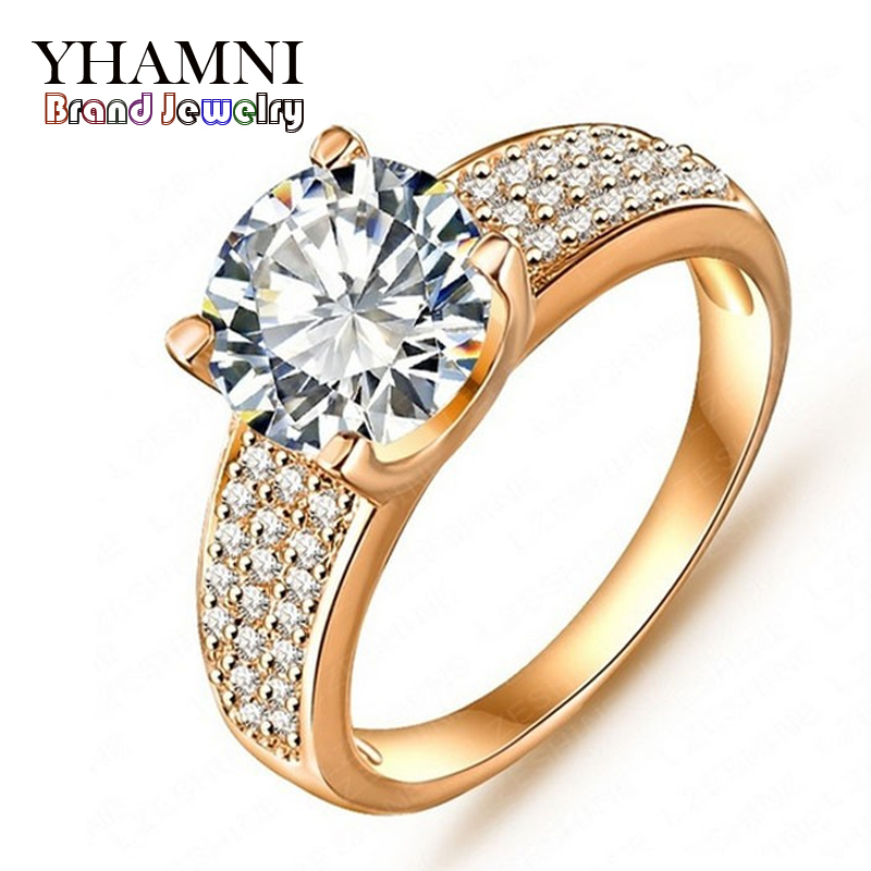 filled round diamond wedding fashion rings zircon diamant real cz luxury carat jewelry item galaxy gold yhamni engagement ring