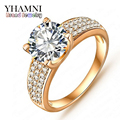 Big Promotion!!! Fashion 24K Gold Filled Wedding Rings For Women Engagement Jewelry Vintage Ring Zirconia Accessories BKJZ018