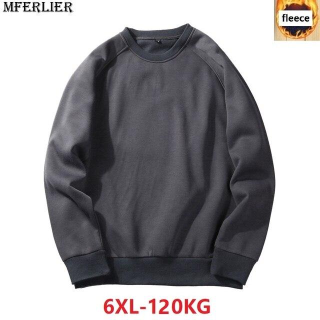 Homens Camisolas de lã quente 5XL MFERLIER 6XL tamanho grande tamanho grande outono cor sólida Camisolas pulôver de algodão casaco sem capuz preto