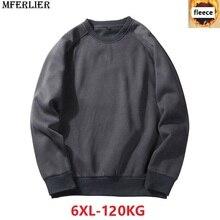 MFERLIER mannen Sweatshirts fleece warm 5XL 6XL grote maat grote herfst effen kleur Sweatshirts katoen trui jas geen hooded zwart