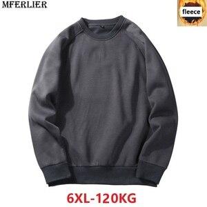 Image 1 - MFERLIER mannen Sweatshirts fleece warm 5XL 6XL grote maat grote herfst effen kleur Sweatshirts katoen trui jas geen hooded zwart
