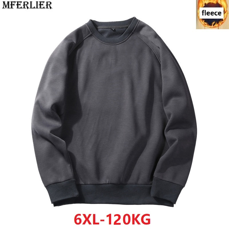 MFERLIER Men Sweatshirts Fleece Warm 5XL 6XL Large Size Big Autumn Solid Color Sweatshirts Cotton Pullover Coat No Hooded Black