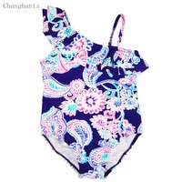 2015 New Baby Girl Swimsuit 1 Piece Style Color Deep Blue With Flowers Pattern Fit 2