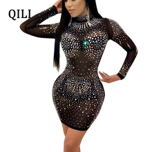 QILI Mesh Diamonds Rhinestone Dress for Women Stand Neck Long Sleeve Mini Bodycon Sexy Party Club Black Khaki