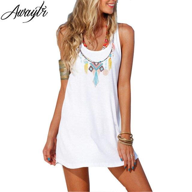 e9b47892c01a Awaytr Summer Beach Dress 2019 Women White Pendant Print Back Strap Cute  Summer Dresses Fashion New Sleeveless A Line Dress