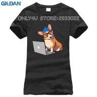 Cool Hipster Corgi print T-shirt women short sleeve funny cartoon tee shirt novelty tops Cheap wholesale young girl t shirt