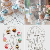 Rotate Ferris Wheel Cupcake Server 8 Cups Stainless Steel Cupcake Stand Cake Holder Decorating Party Supplies