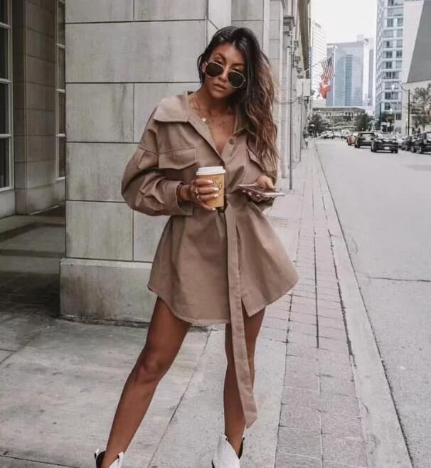 Women Long Shirt 2019 Spring Summer Cotton Shirts Solid Color Boyfriend Style Tops High Street Fashion 3
