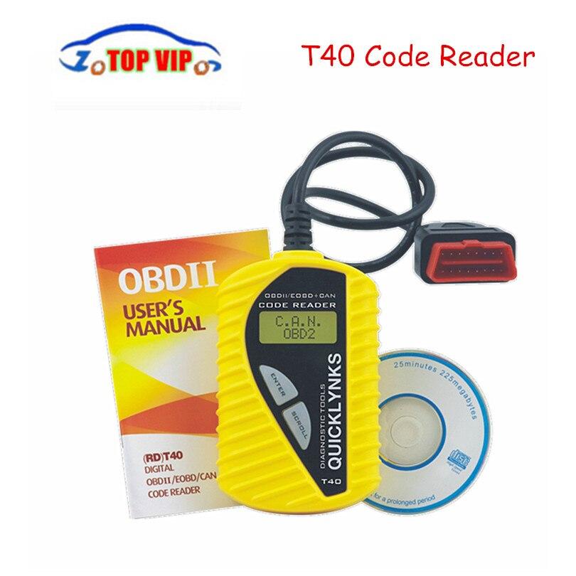 Цена за Новинка 2017 года T40 Code Reader основные диагностический инструмент Quicklynks сканер может OBDII сканер T40 инструмент диагностики для OBD2 EOBD JOBD