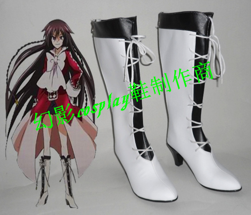 Pandora Hearts Alice Halloween White Long Cosplay Shoes Boots With Heels H016