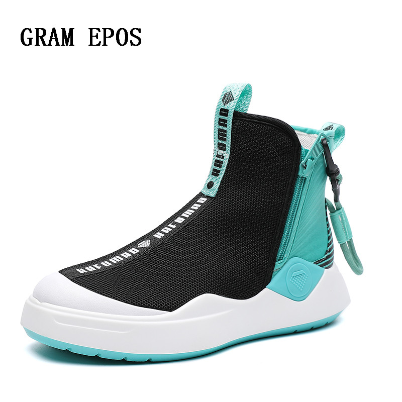 2018 Autumn New Stitching Contrast Color Harajuku Style High Shoes Simple Zipper Design Fashion Street Woman Socks Shoes