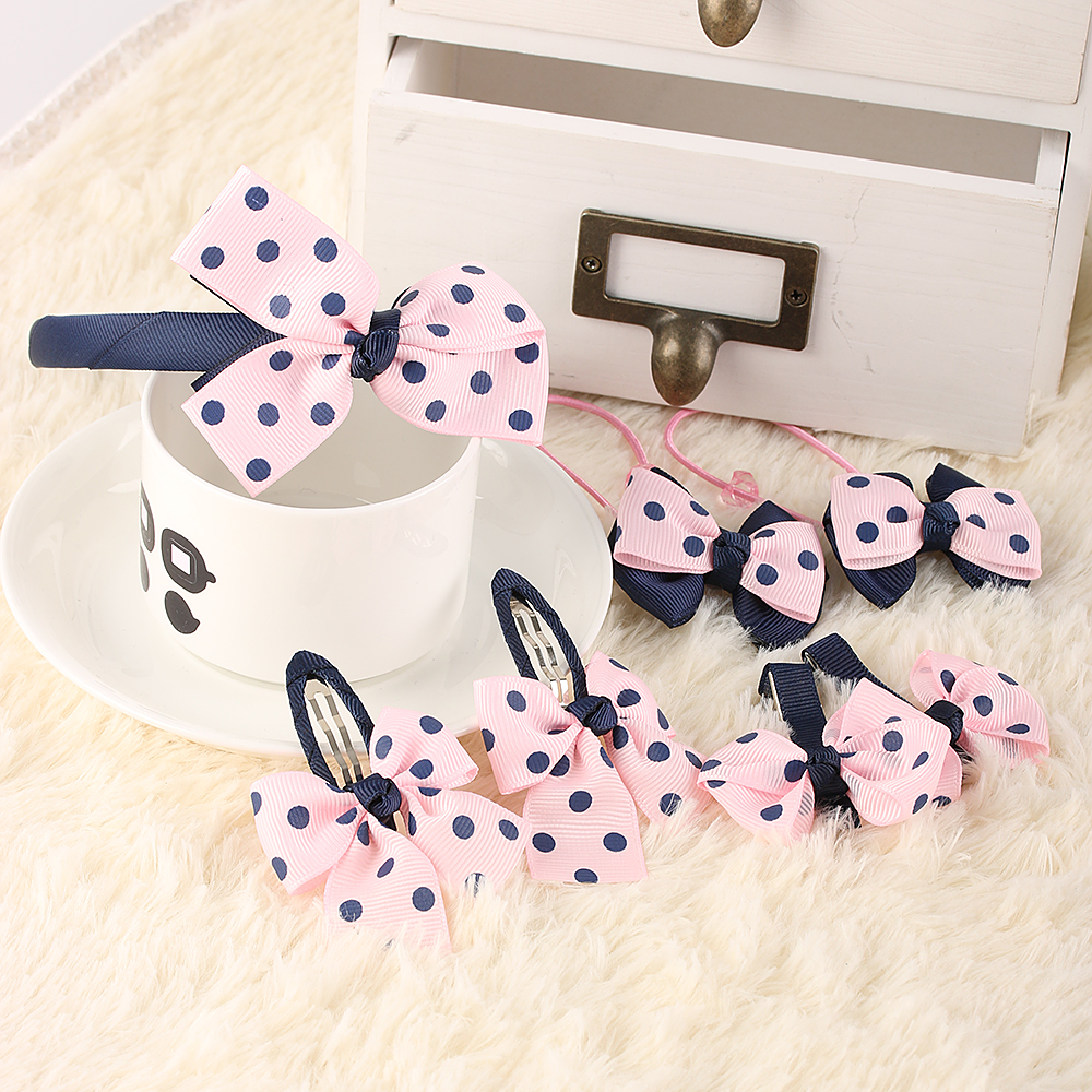 7PCs/pack Lovely Girls Hair Accessories Headwear Set Printing Dot Bow Children Headbands Multi-style Hair Accessories halloween party zombie skull skeleton hand bone claw hairpin punk hair clip for women girl hair accessories headwear 1 pcs