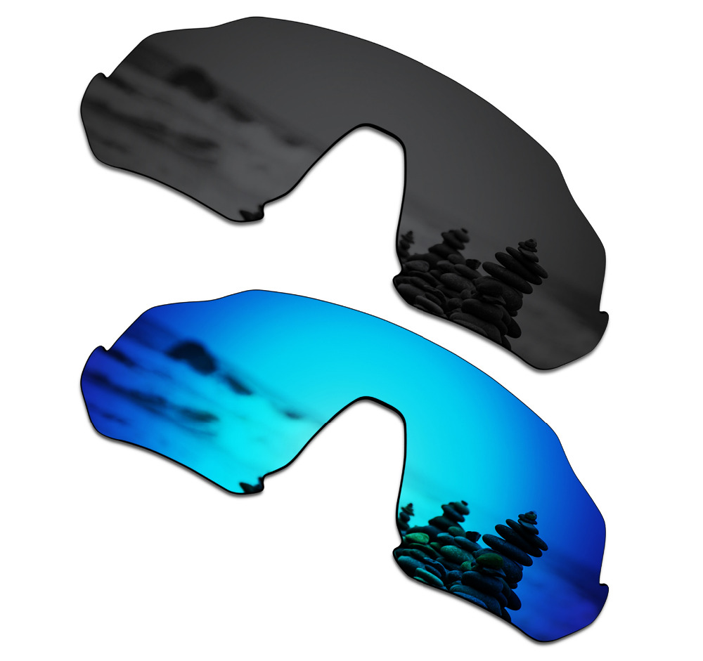 SmartVLT 2 Pieces Polarized Sunglasses Replacement Lenses for Oakley Flight Jacket Stealth Black and Ice Blue