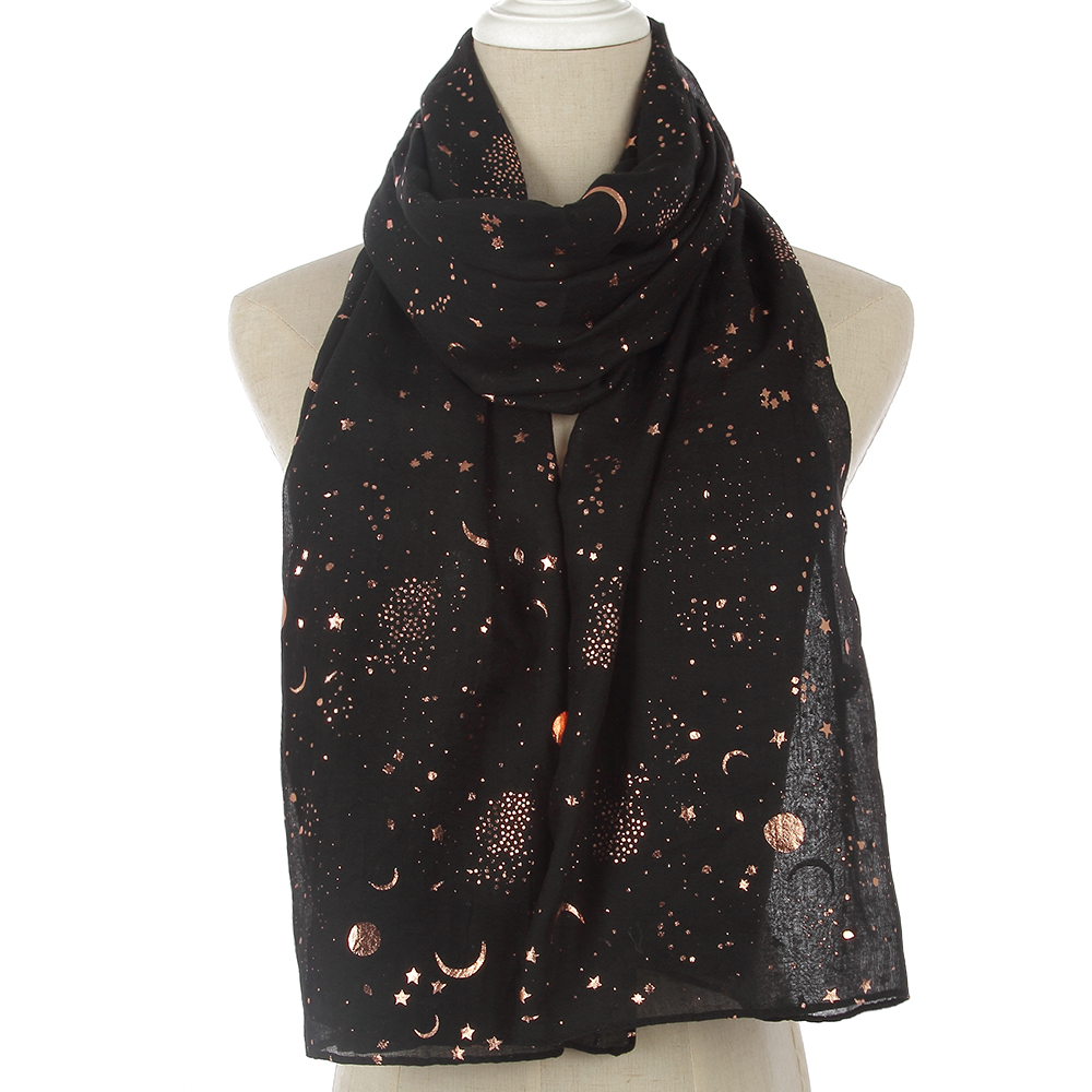WINFOX New Fashion Women Shiny Black Foil Gold Star Moon Scarves For Womens Ladies