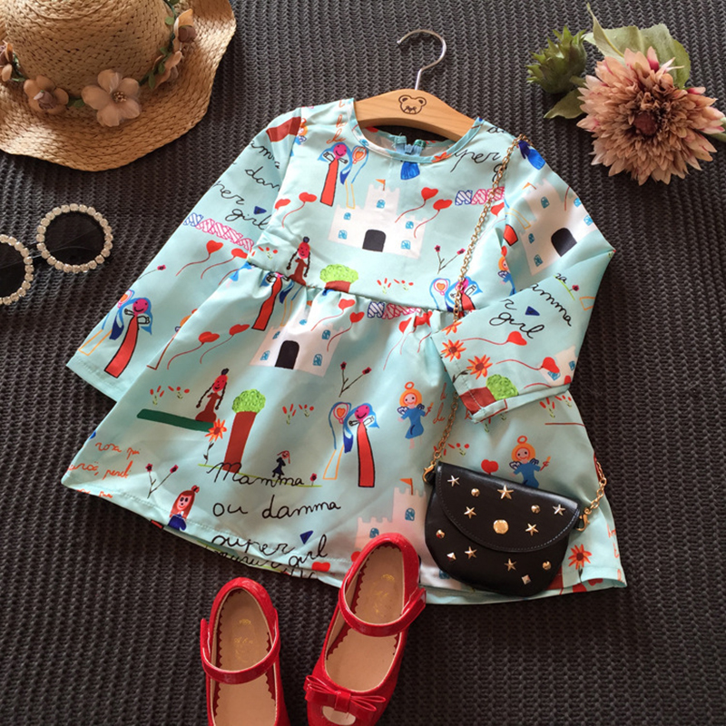 Cute Girls Dress Cotton Long Sleeve Infant Dress O Neck Dresses For Girl Print A Line Kids Clothes New Cartoon Children Clothing (7)