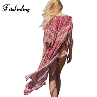 Fitshinling Red Chiffon Swimsuit Beach Cover Up Swimwear Floral Print Flare Sleeve Boho Women Blouse Long