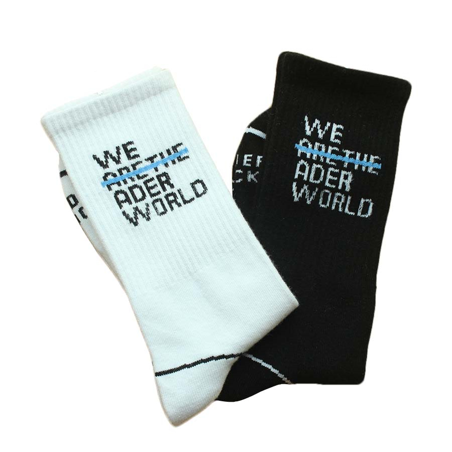 Ader error world Black white   socks   Men's and Women's Breathable Skateboard Street Dance Casual Harajuku   Socks