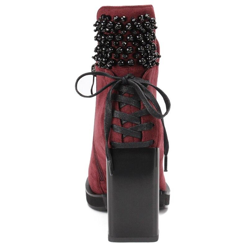 Alto Moda Zapatos Tacón Vino Sólido Y Dropship Botas Karinluna Mujer Tinto Tamaño Gran Zip Grueso De Tobillo 41 Sqwy57xCz