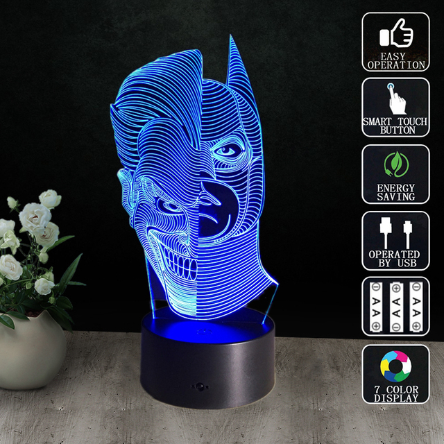 3D Visual Night Light Two Face Discoloration Table Lamp Cool ...